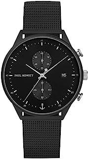Paul HEWITT 计时线黑色太阳射 - 黑色不锈钢计时码表,男式和女式带秒表黑色网带,黑色表盘