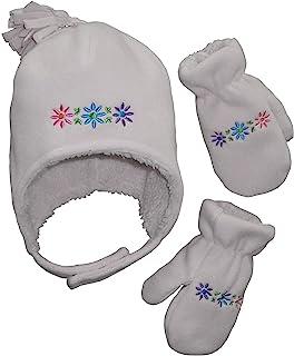 N'Ice Caps 女童和婴儿软羊绒内衬微绒飞行员帽和手套套装