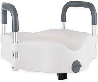 Medokare 增高马桶坐垫 – 4.5 英寸标准老人马桶坐立座,便携式手拿马桶座带把手,调节升高座椅带扶手