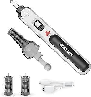 AONLLEN 4V 便携式无绳烙铁,可充电锂离子电池,电子焊接套件,超快速加热,高达 100 华氏度,LED 灯,适用于电子电焊、切割、DIY 项目