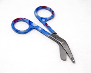 蓝色和粉色露滴手柄图案 颜色 Lister 绷带剪刀 3.5 英寸(8.9 厘米),不锈钢