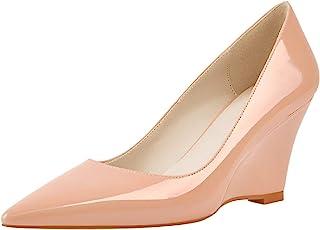 Yolkomo 女式坡跟高跟鞋 尖头低坡跟高跟鞋