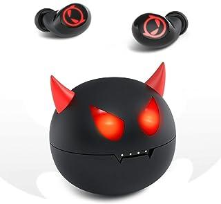 Haloland 蓝牙 5.0 无线耳机 IPX8 防水 CVC 8.0 降噪入耳式耳机 TWS 立体声耳机 内置麦克风 高级音效 深低音 适用于运动黑色