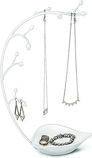 Umbra,白色兰花首饰收纳器和项链夹,内置盘子,适用于戒指、耳环和手链