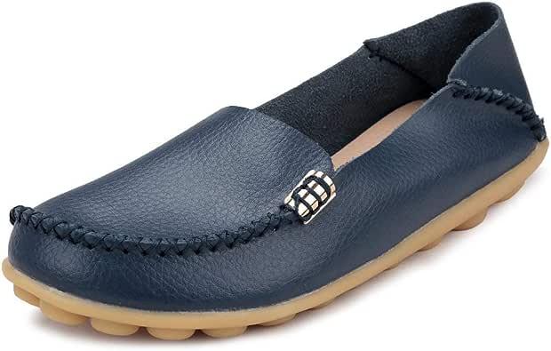 Ablanczoom 女式舒适皮革花卉印花平底鞋休闲驾驶乐福鞋女式步行鞋 深蓝色 1 12.5