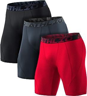 ATHLIO 1 或 3 件装男式运动凉爽干燥压缩短裤,运动性能活跃跑步紧身裤
