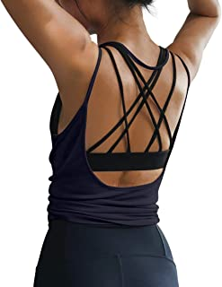 OYANUS 女式夏季健身上衣性感露背瑜伽衬衫露背运动服跑步运动健身房速干背心