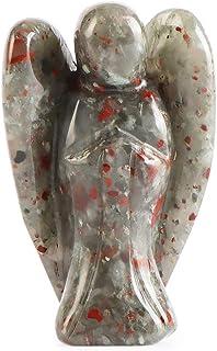 Artistone 5.08 厘米天使石,非洲血石天使*水晶手工雕刻宝石水晶雕像守护者口袋天使,带礼品盒