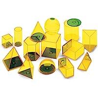 hand2mind 塑料可填充 3D 形状,黄色几何图形固体,用于测量体积(14 件套)