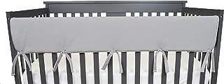 TL Care Supreme 1 件装天堂柔软雪尼尔双面婴儿床宽保护罩,前侧,灰色和白色