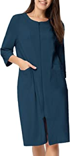 zexxxy 女式长款睡袍棉质睡衣前拉链 loungwear 柔软和温暖