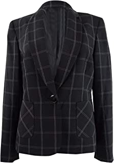 Kasper 女式窗格格子单扣外套