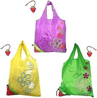 可包装可重复使用的折叠成草莓购物手提袋,紫色/绿色/黄色,3 件套