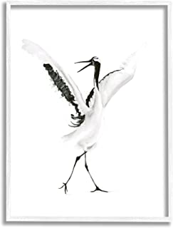 Stupell Industries 跳舞起重机开放翅膀黑鸟,由 Olg Shefranov 白色带框墙艺术