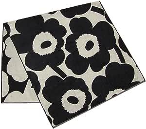 marimekko 毛巾 凝胶毛巾 面巾 UNIKKO 黑色×米色 75×150cm 63629 980 【平行进口商品】 63629 980