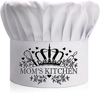DYJYBMY Mom's Kitchen 成人可调节厨房烹饪帽,带弹性带厨师贝克帽白色,烹饪烧烤礼品,适合送给女士、妻子、妈妈、奶奶