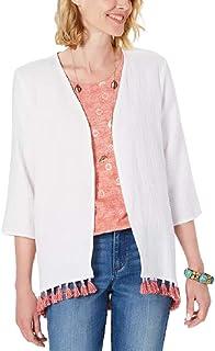 Style & Co. 棉质流苏饰边和服上衣,白色 L 码