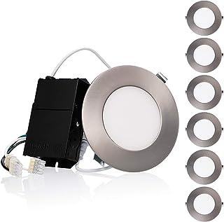 TORCHSTAR 高级 10.5W 4 英寸超薄 LED 嵌灯,带有 J-Box,3000K/4000K/5000K,可调光细长面板晶片筒灯,750lm,5 年保修,缎面镍/油面青铜,6 件装 Soft White (2700k) Satin...
