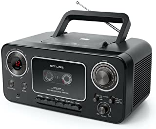 Muse M-182 立体声收音机,带 CD 播放器和录音机,带录音功能,电池操作(UKW 和 MW 调谐器,AUX 输入,伸缩天线),黑色