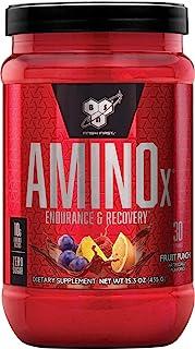 BSN Amino X BCAA 粉末,无糖氨基酸复合物 高剂量 含维生素 D、维生素 B6、精氨酸、牛磺酸和尿素,水果冲突,30份,435克