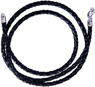 扭曲编织绳黑色皮革 CORD 项链40.6cm 45.7cm 50.8cm 76.2cm