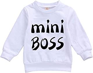 FYBITBO 幼儿女婴运动衫长袖豹纹套头衬衫时尚毛衣秋季服装(白色迷你老板,0-6 个月)
