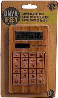 Onyx 和绿色太阳能供电 8 位数计算器,竹制 (4404)