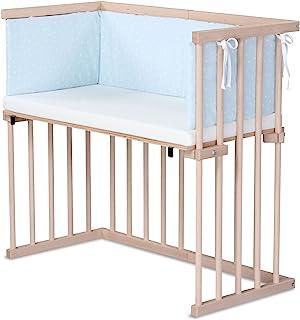 dreamgood 婴儿床 天然山毛榉材质 | 床垫 Prime Air | 小窝,天蓝色点白色
