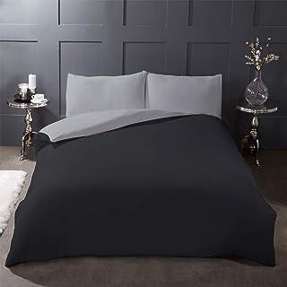 Highams 拉绒棉质全套羽绒被套 带枕套床笠双面床上用品套装,炭黑色和灰色 - King BRCGYCHA133