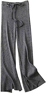 SANGTREE 女式抽绳纯色针织阔腿羊绒休闲裤深灰色,XXL 码