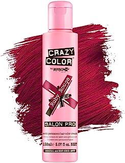 Crazy Color *剂 - 纯素和无残忍的半永久*剂 - 用于预亮或金发的临时* - 无需过氧化物或显影剂(红宝石)