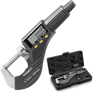 数字微仪,专业英寸/公制厚度测量工具 0.0005英寸/0.001 毫米分辨率厚度计,带额外电池的保护壳
