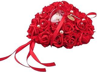 Amosfun 结婚戒指枕头戒指蕾丝水晶玫瑰婚礼心形戒指盒戒指夹婚礼配饰(红色)