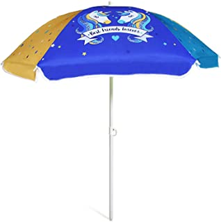 AMMSUN 47 英寸海滨雨伞,适用于沙和水桌 - 儿童耐用雨伞海滩野营花园户外玩耍遮阳板 蓝色/黄色