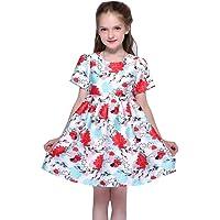 女孩连衣裙无袖夏季春季秋季派对棉质舒适多层服装适合 2-9 岁儿童服装