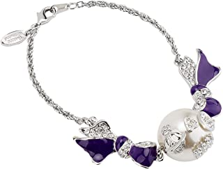 Vivienne Westwood 魔鬼头珍珠紫色蝴蝶结手链,带特殊包装盒和纸袋