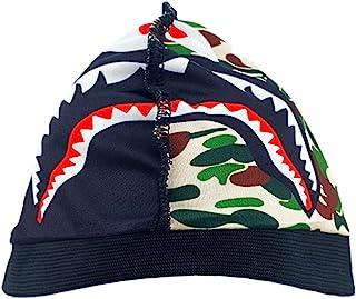 Shark Face 骷髅帽,设计师丝绸迷彩耐用男式,丝滑缎面下摆无檐小便帽压缩袜帽,吸汗凉爽吸汗骑行 Du Rags,Sports Doo Rag 360 波浪弹性*头套