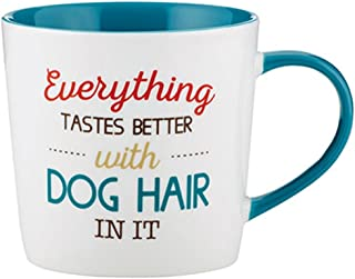 I Heart Dogs 陶瓷爱狗人士咖啡杯,14 盎司 Everything Tastes Better With Dog Hair 3.75 inches B1282