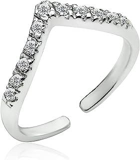 Big Apple Hoops - 高抛光 925 纯银和 CZ 方晶锆石可调节人字形趾戒指