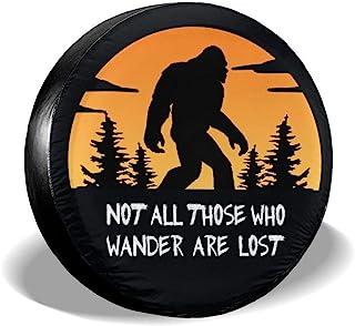 Cozipink Not All Those Who Wander are Lost Bigfoot 备用轮胎罩车轮保护套防风雨通用拖车 Rv SUV 卡车露营旅行拖车 14 英寸 15 英寸 16 英寸 17 英寸