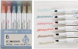 VIENCE 荧光笔,6 色荧光笔,凿尖标记笔,水基,快干,*保护,适合成人和儿童,超长标记性能,6 支装(Morandi)