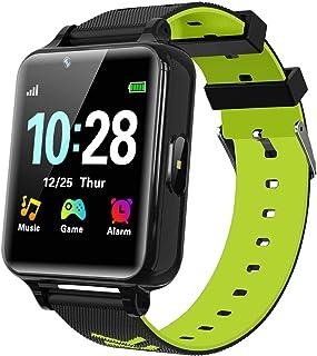 WILLOWWIND 儿童智能手表 男孩女孩款 - 儿童智能手表带 14 种游戏音乐 Mp3 播放器 双向电话呼叫报警计算器 适合学生 4-12 岁生日生日礼物(黑色)