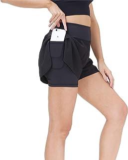 snowhite 女士跑步短裤 - 健身运动健身房瑜伽短裤带手机口袋
