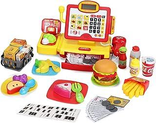 WEEK BEAN 儿童玩具收银机 - 计算器游戏收银机,带手持真实扫描仪、现场麦克风和游戏食物 - 送给男孩女孩幼儿的*礼物,56 件,3 年以上
