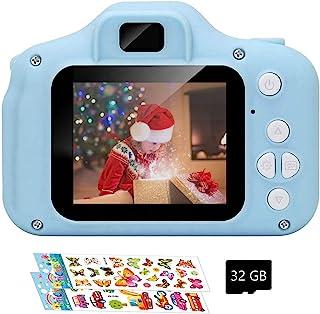 儿童相机、儿童数码相机,可充电相机,带 2 英寸 1080P 屏幕,防震摄像机,适合 3-8 岁男孩和女孩的圣诞礼物,蓝色(含 32GB 卡),Hooseng-015