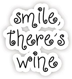 Smile There's Wine - 励志报价贴纸 - 6.35cm 乙烯基贴纸 - 笔记本电脑、Macbook、装饰、窗乙烯基贴纸