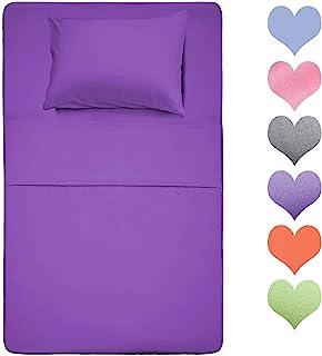 棉单人床床单套装 400 支棉(紫罗兰色)3 件套 - * 长纤维棉床单套装,柔软棉质床单套装,深口袋,适合 17 英寸(约 43.2 厘米)