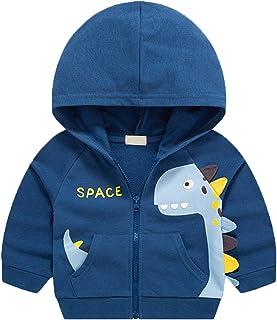 HUAER&& Baby 男孩棉质卡通狐狸前拉链夹克连帽运动衫