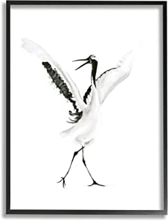Stupell Industries 跳舞起重机开放翅膀黑鸟,由 Olg Shefranov 设计 带框墙艺术