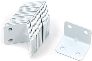 MTMTOOL 1.3 英寸 x 1 英寸(约 3.3 厘米 x 2.5 厘米)长形状搁板角支架铁直角支架白色家具五金架支架支持带螺丝 20 件装